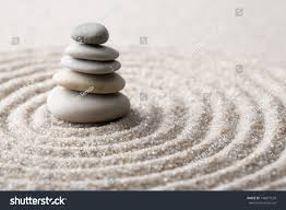 japanese zen garden meditation stone concentration stock photo