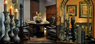 Tuscan Style Dining Room Furniture by Old World Decor Pillar Candle Holders Rosetta