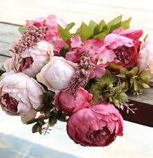 Artificial Peonies Fake Peonies Silk Botanicals Mixed Pink Peonies In Glass Vase