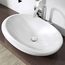 modern white gloss ceramic bathroom sink basin pebble shaped