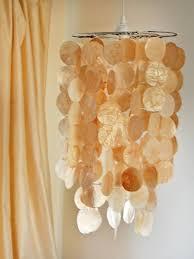 diy shell chandelier faux capiz shell pendant hgtv