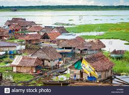 floating houses on the banks of rio itayla iquitos loreto peru