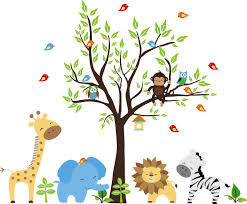 easy baby room decorations nursery wall stickers image of animal themed nursery wall stickers with trees