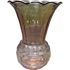 anchor hocking pink glass pineapple vase vintage home decor from
