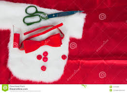 christmas sewing still life includes fabric and stock photo