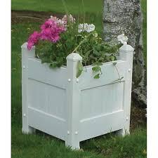 dura trel 16 in square white vinyl planter box 11123 the home depot