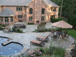 grey tennessee crab orchard pool patio design installation bergen