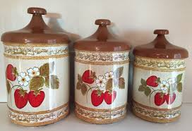 vintage metal kitchen canister sets vintage lincoln beautyware canister set tin metal with strawberry