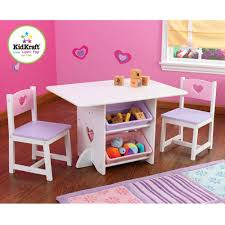 kidkraft round table and 2 chair set kidkraft round storage table and 2 chairs set in white and pink