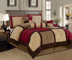 Red And Brown Bedroom Amazon Com Textiles Plus 7 Piece Micro Suede Patchwork Bed In A