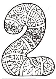 number 2 zentangle coloring free printable coloring pages