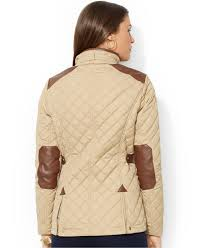 lauren by ralph lauren quilted snap front equestrian jacket in