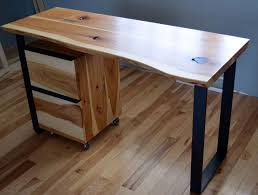 wood metal desk custom rustic hickory and steel desk with a natural edge by