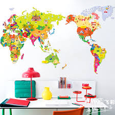 cartoon map of the world wall stickers sofa tv background wall