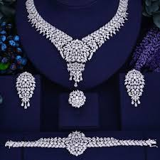 cubic zirconia necklace sets images Bridal silver cubic zirconia 4 piece jewelry sets bhe jpg