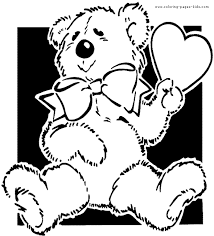 teddy bear with a heart color page