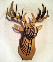 wooden animal wall deer 3d puzzle animal cardboard animal mdf deer