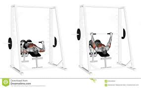 exercising decline smith machine bench press stock illustration