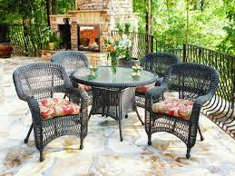 dining room stunning black patio rattan dining set with stone