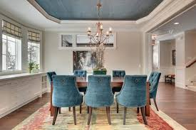 miraculous decorative traditional dining room with blue tufted