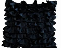 Glamorous Black Ruffle Pillow Cover Gothic Black Pillow