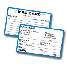 medical id card in case of emergency card emergency