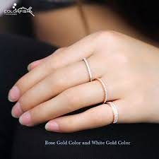 1mm wedding band colorfish 925 sterling silver stackable ring 1mm cz match