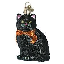 old world christmas halloween kitty glass blown ornament you