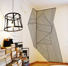 wall decoration made with black plastic tape size 200x260cm wire