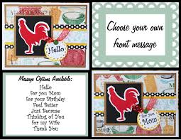 custom rooster card rooster kitchen thank you handmade cards