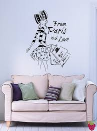 amazon com from paris with love french fashion woman decor wall amazon com from paris with love french fashion woman decor wall art mural vinyl art sticker m508 22 5 in by 32 in home kitchen