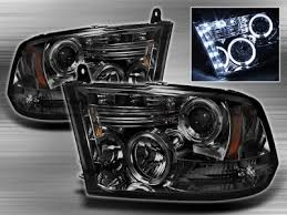 2011 dodge ram headlight replacement dodge ram 2009 2016 smoked halo projector headlights with led drl