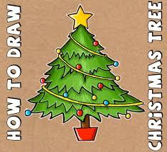 draw cartoon christmas tree christmas easy steps