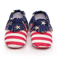 American Flag With Yellow Fringe American Flag Usa Strip Baby Moccasins For Babies U0026 Toddlers
