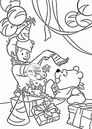 pooh cartoon happy birthday coloring page for kids holiday