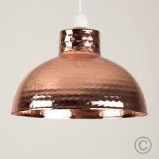 retro style hammered copper metal effect dome ceiling pendant