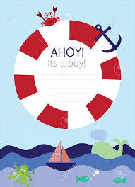 Nautical Theme Its A Boy Announcement Card In Nautical Theme Royalty Free