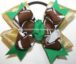 football ribbon football pigtail bow football ponytail bow green gold football