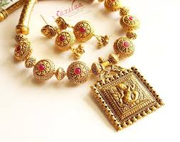 gold antique necklace set images Royal maroon antique gold statement handmade necklace set at jpg