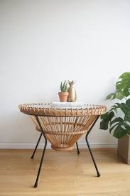 round wicker end table mid century 60 s 70 s franco albini round wicker glass coffee table