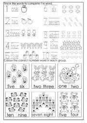 numbers 1 10 worksheet by jessamay27