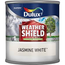 dulux weathershield jasmine white smooth matt masonry paint 0 25l