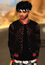 sims 4 blvcklifesimz hair xxblacksims gucci jacket the siims 4 cc cas sims 4 pinterest