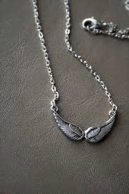 silver necklace wings images Silver small angel wing necklace blk and noir jewelry online JPG