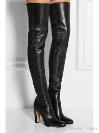 plain leather black thigh high boots square heel round toe zip