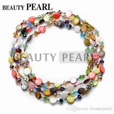 round beads necklace images Multicolor coin 11 12mm shell beads with crystal necklace 60 inch jpg