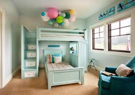 bedroom ceiling lighting and bunk bed with window treatments also