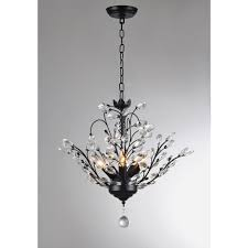 Antique Black Chandelier Aria 5 Light Black Crystal Leaves Chandelier With Shade P16815