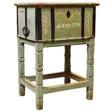 Swedish Painted Furniture Antique Painted Swedish Chest On Stand Northern Europe Dated