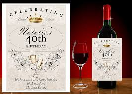 birthday drink wine personalised 18th 21st 30 40 50 60th happy birthday wine champagne